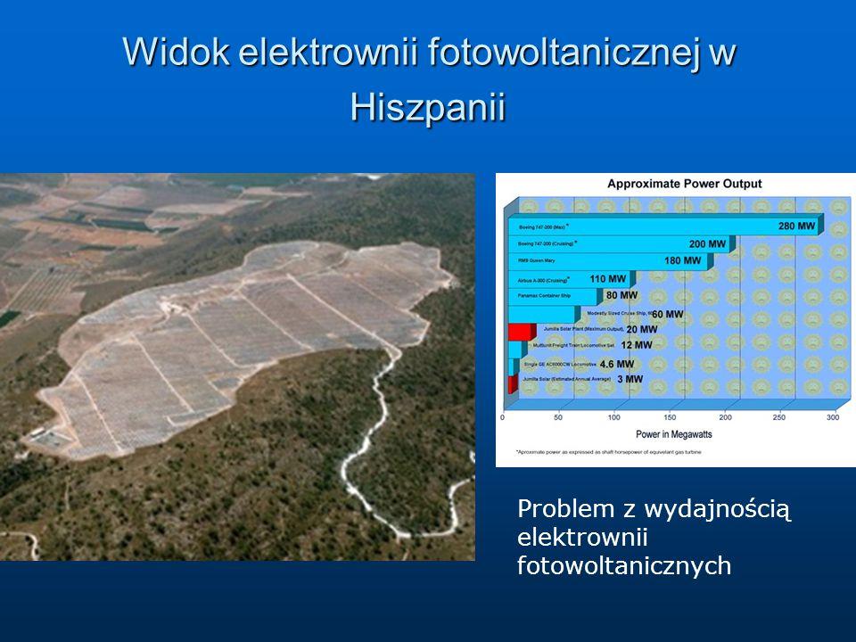 Widok elektrownii fotowoltanicznej w Hiszpanii Problem z wydajnością elektrownii fotowoltanicznych