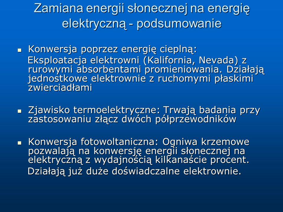Zamiana energii słonecznej na energię elektryczną - podsumowanie Konwersja poprzez energię cieplną: Konwersja poprzez energię cieplną: Eksploatacja el