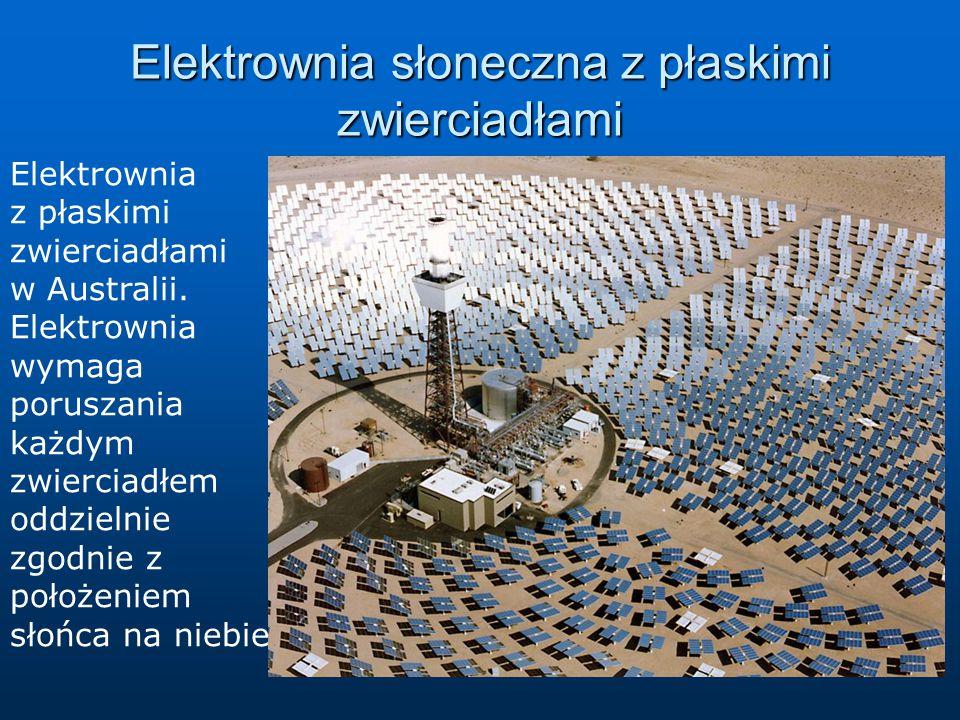Elektrownia słoneczna z płaskimi zwierciadłami Elektrownia z płaskimi zwierciadłami w Australii. Elektrownia wymaga poruszania każdym zwierciadłem odd