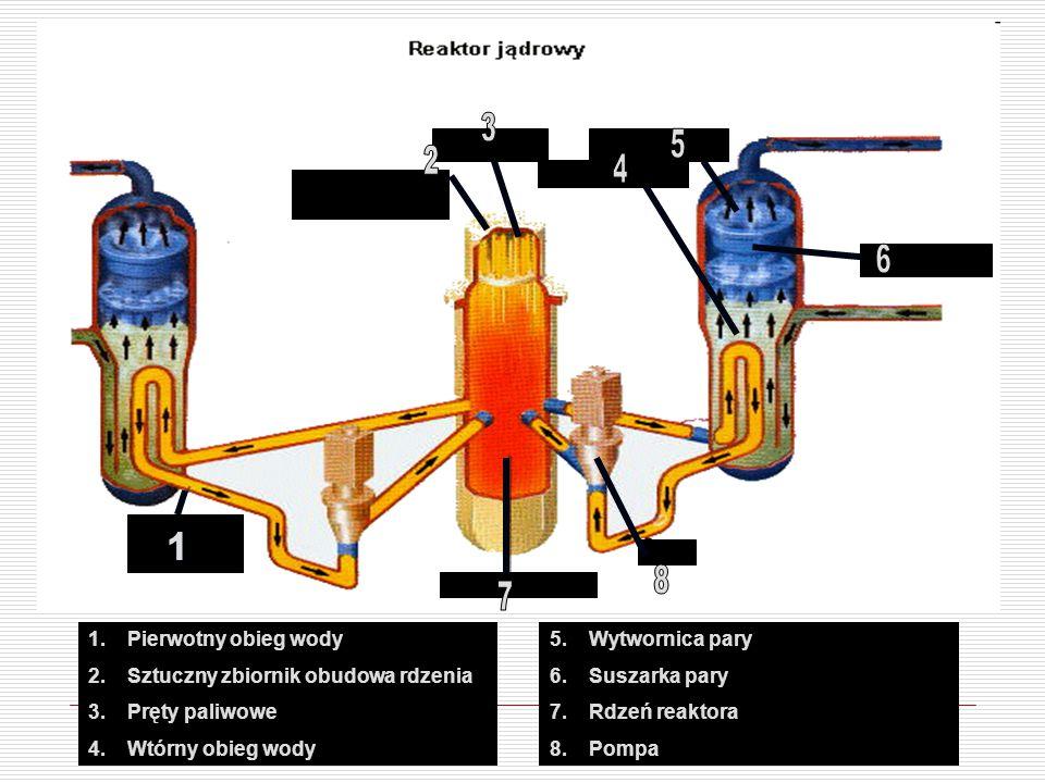 1.Pierwotny obieg wody 2.Sztuczny zbiornik obudowa rdzenia 3.Pręty paliwowe 4.Wtórny obieg wody 5.Wytwornica pary 6.Suszarka pary 7.Rdzeń reaktora 8.Pompa