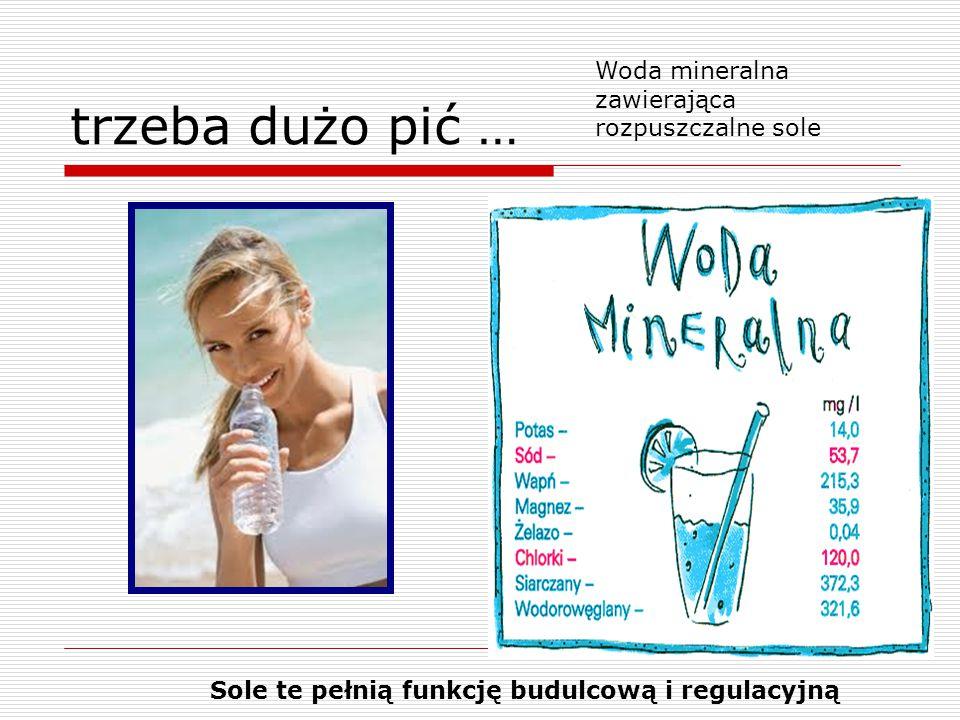 trzeba dużo pić … Woda mineralna zawierająca rozpuszczalne sole Sole te pełnią funkcję budulcową i regulacyjną