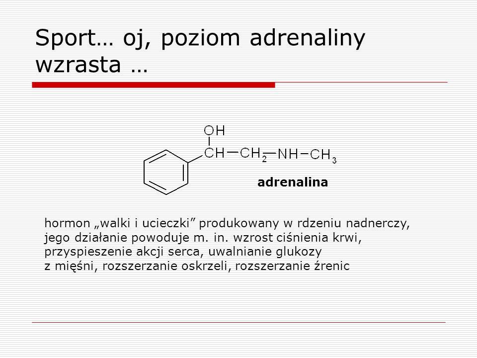 """Sport… oj, poziom adrenaliny wzrasta … hormon """"walki i ucieczki produkowany w rdzeniu nadnerczy, jego działanie powoduje m."""