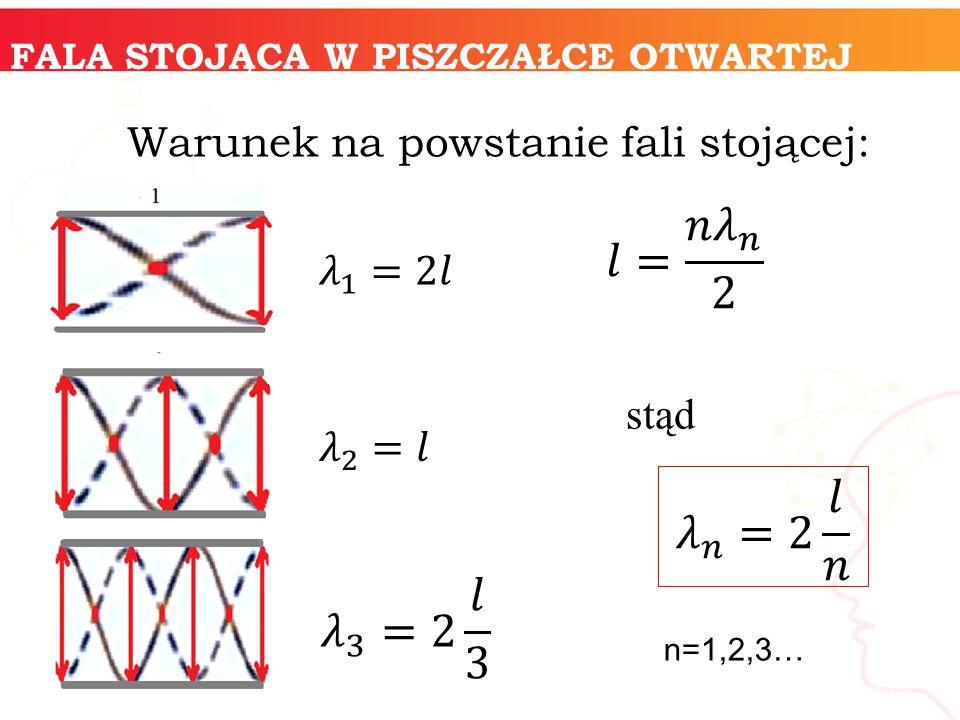 17 FALA STOJĄCA W PISZCZAŁCE OTWARTEJ n=1,2,3… Warunek na powstanie fali stojącej: stąd