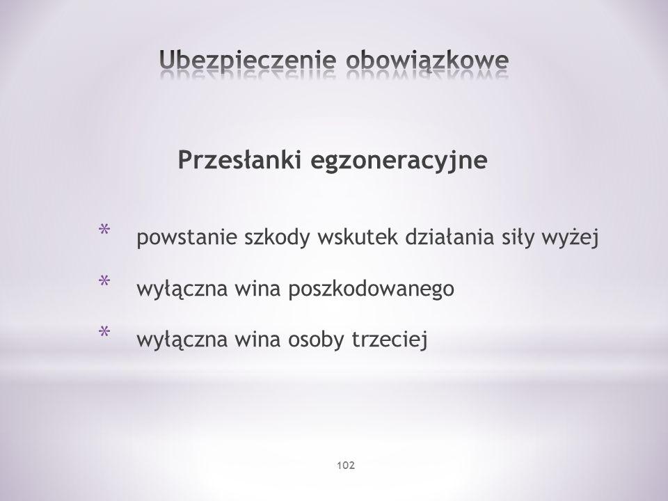 Przesłanki egzoneracyjne * powstanie szkody wskutek działania siły wyżej * wyłączna wina poszkodowanego * wyłączna wina osoby trzeciej 102