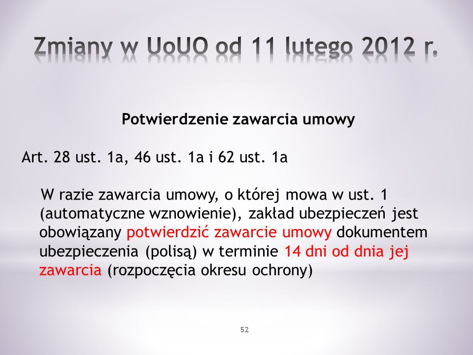 Potwierdzenie zawarcia umowy Art. 28 ust. 1a, 46 ust. 1a i 62 ust. 1a W razie zawarcia umowy, o której mowa w ust. 1 (automatyczne wznowienie), zakład