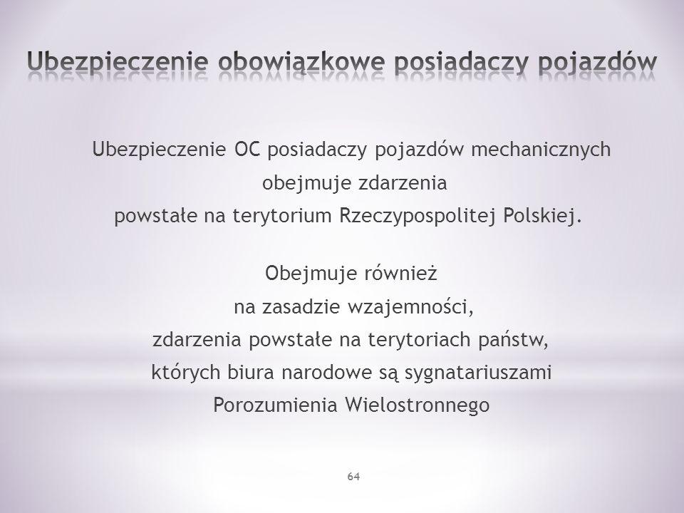 Ubezpieczenie OC posiadaczy pojazdów mechanicznych obejmuje zdarzenia powstałe na terytorium Rzeczypospolitej Polskiej. Obejmuje również na zasadzie w