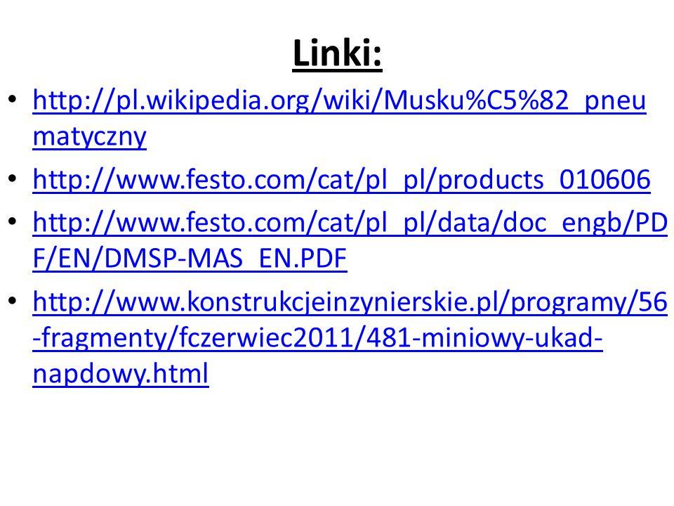Linki: http://pl.wikipedia.org/wiki/Musku%C5%82_pneu matyczny http://pl.wikipedia.org/wiki/Musku%C5%82_pneu matyczny http://www.festo.com/cat/pl_pl/pr