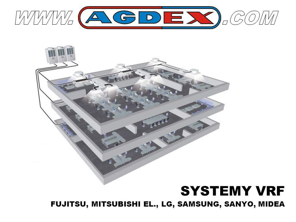 SYSTEMY VRF FUJITSU, MITSUBISHI EL., LG, SAMSUNG, SANYO, MIDEA