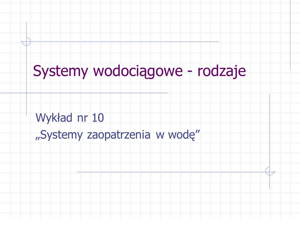 """Systemy wodociągowe - rodzaje Wykład nr 10 """"Systemy zaopatrzenia w wodę"""