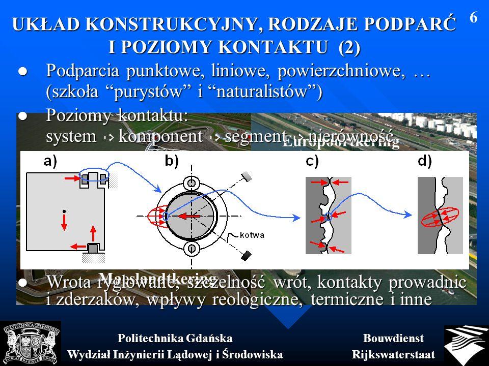Maeslandtkering Europoortkering Poziomy kontaktu: Poziomy kontaktu: system komponent segment nierówność system  komponent  segment  nierówność UKŁAD KONSTRUKCYJNY, RODZAJE PODPARĆ I POZIOMY KONTAKTU (2) BouwdienstRijkswaterstaat Politechnika Gdańska Wydział Inżynierii Lądowej i Środowiska 6 Podparcia punktowe, liniowe, powierzchniowe, … Podparcia punktowe, liniowe, powierzchniowe, … (szkoła purystów i naturalistów ) Wrota ryglowane, szczelność wrót, kontakty prowadnic i zderzaków, wpływy reologiczne, termiczne i inne Wrota ryglowane, szczelność wrót, kontakty prowadnic i zderzaków, wpływy reologiczne, termiczne i inne