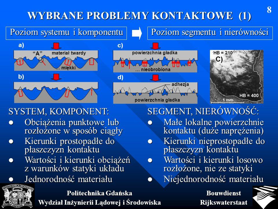 WYBRANE PROBLEMY KONTAKTOWE (1) BouwdienstRijkswaterstaat Politechnika Gdańska Wydział Inżynierii Lądowej i Środowiska 8 SYSTEM, KOMPONENT: Obciążenia punktowe lub rozłożone w sposób ciągły Obciążenia punktowe lub rozłożone w sposób ciągły Kierunki prostopadłe do płaszczyzn kontaktu Kierunki prostopadłe do płaszczyzn kontaktu Wartości i kierunki obciążeń z warunków statyki układu Wartości i kierunki obciążeń z warunków statyki układu Jednorodność materiału Jednorodność materiału SEGMENT, NIERÓWNOŚĆ: Małe lokalne powierzchnie kontaktu (duże naprężenia) Małe lokalne powierzchnie kontaktu (duże naprężenia) Kierunki nieprostopadłe do płaszczyzn kontaktu Kierunki nieprostopadłe do płaszczyzn kontaktu Wartości i kierunki losowo rozłożone, nie ze statyki Wartości i kierunki losowo rozłożone, nie ze statyki Niejednorodność materiału Niejednorodność materiału Poziom segmentu i nierówności Poziom systemu i komponentu b) c) … nieobrobiona powierzchnia gładka d) powierzchnia gładka adhezja a) materiał twardy … miękki A