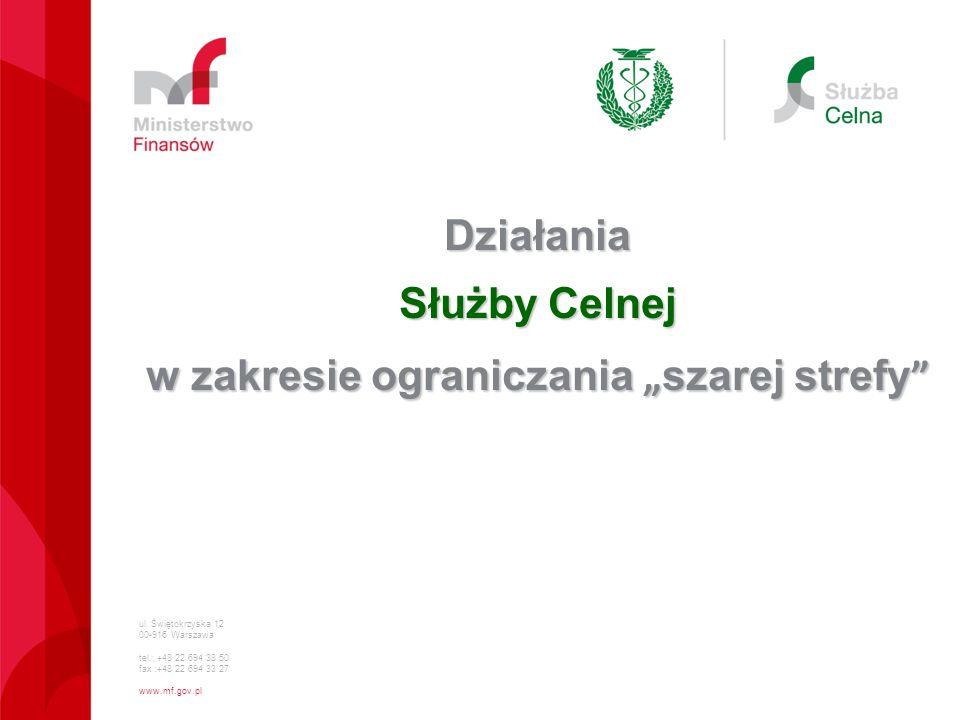 """ul. Świętokrzyska 12 00-916 Warszawa tel.: +48 22 694 38 50 fax :+48 22 694 33 27 www.mf.gov.pl Działania Służby Celnej w zakresie ograniczania """" szar"""