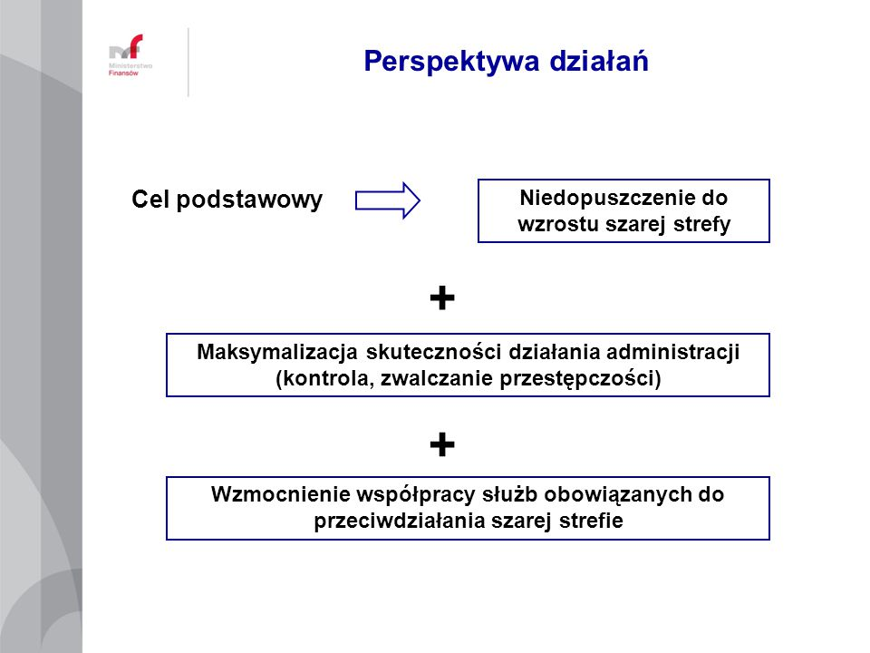 Perspektywa działań Cel podstawowy Niedopuszczenie do wzrostu szarej strefy Maksymalizacja skuteczności działania administracji (kontrola, zwalczanie