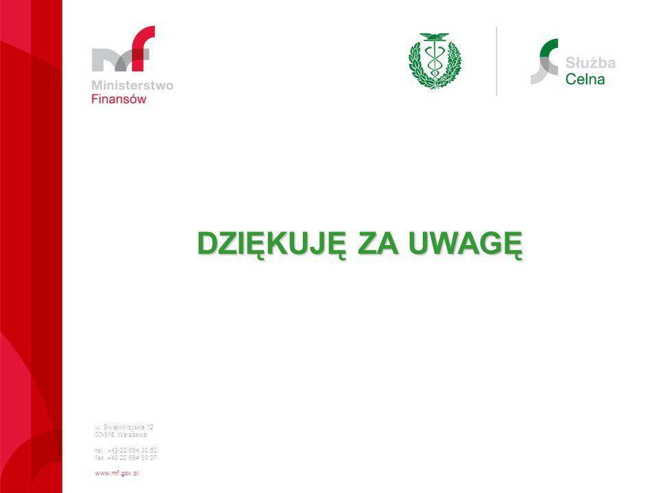 ul. Świętokrzyska 12 00-916 Warszawa tel.: +48 22 694 38 50 fax :+48 22 694 33 27 www.mf.gov.pl DZIĘKUJĘ ZA UWAGĘ