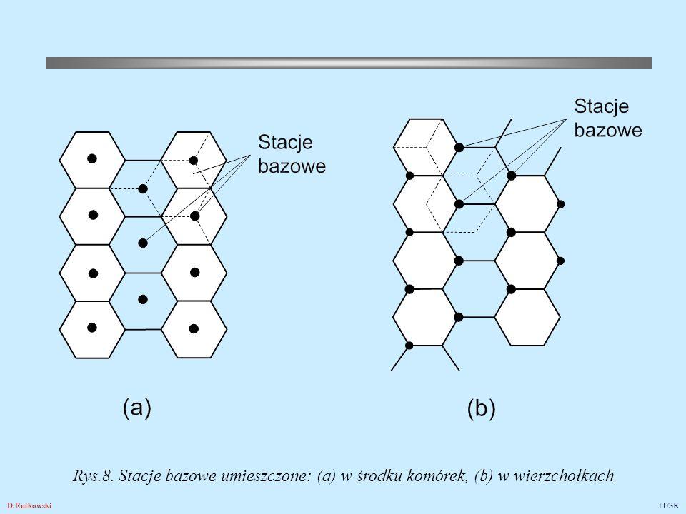 D.Rutkowski11/SK Rys.8. Stacje bazowe umieszczone: (a) w środku komórek, (b) w wierzchołkach
