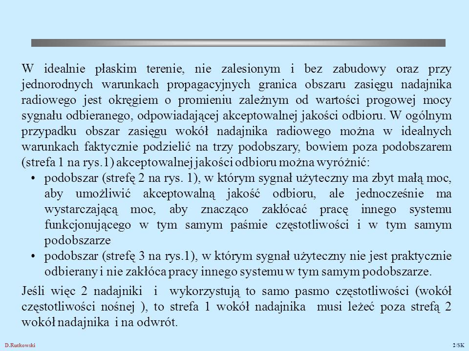 D.Rutkowski2/SK W idealnie płaskim terenie, nie zalesionym i bez zabudowy oraz przy jednorodnych warunkach propagacyjnych granica obszaru zasięgu nada