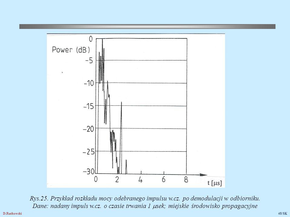 D.Rutkowski48/SK Rys.25. Przykład rozkładu mocy odebranego impulsu w.cz. po demodulacji w odbiorniku. Dane: nadany impuls w.cz. o czasie trwania 1  s