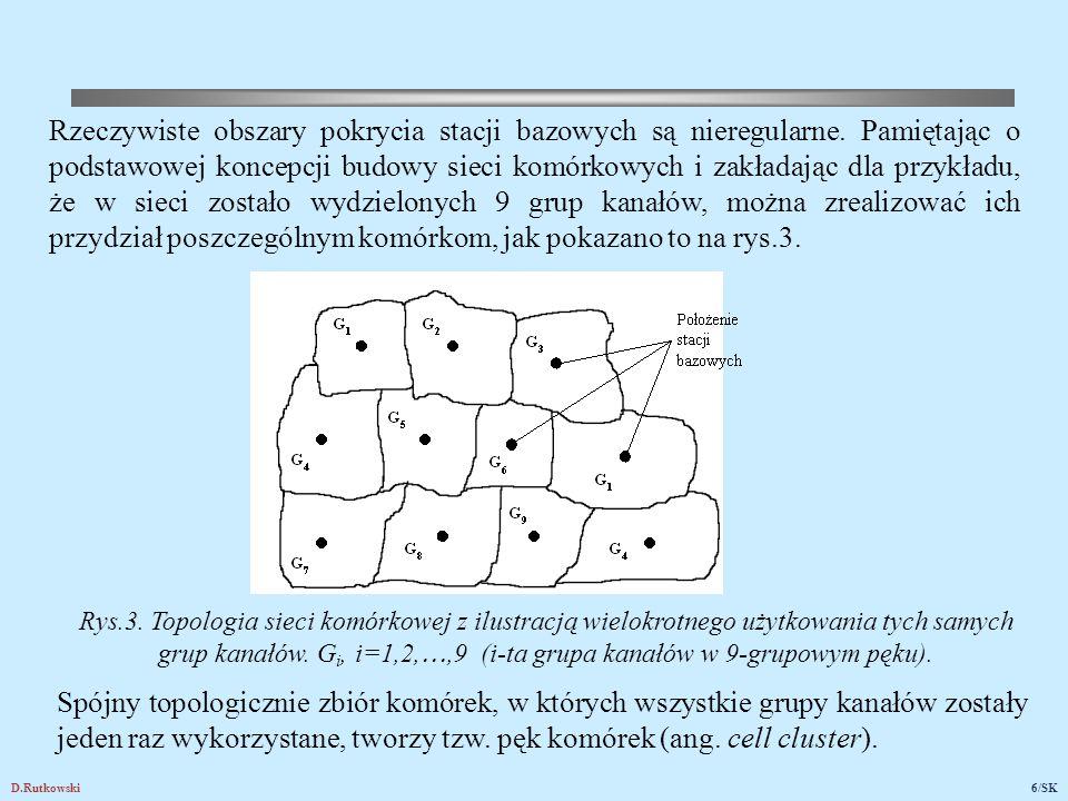 D.Rutkowski6/SK Rys.3. Topologia sieci komórkowej z ilustracją wielokrotnego użytkowania tych samych grup kanałów. G i, i=1,2, ,9 (i-ta grupa kanałów