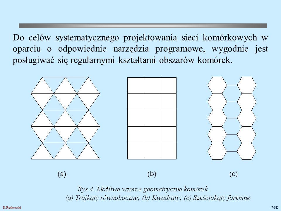 D.Rutkowski7/SK Rys.4. Możliwe wzorce geometryczne komórek. (a) Trójkąty równoboczne; (b) Kwadraty; (c) Sześciokąty foremne Do celów systematycznego p