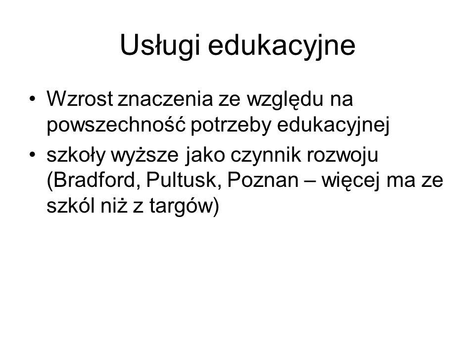 Usługi edukacyjne Wzrost znaczenia ze względu na powszechność potrzeby edukacyjnej szkoły wyższe jako czynnik rozwoju (Bradford, Pultusk, Poznan – więcej ma ze szkól niż z targów)