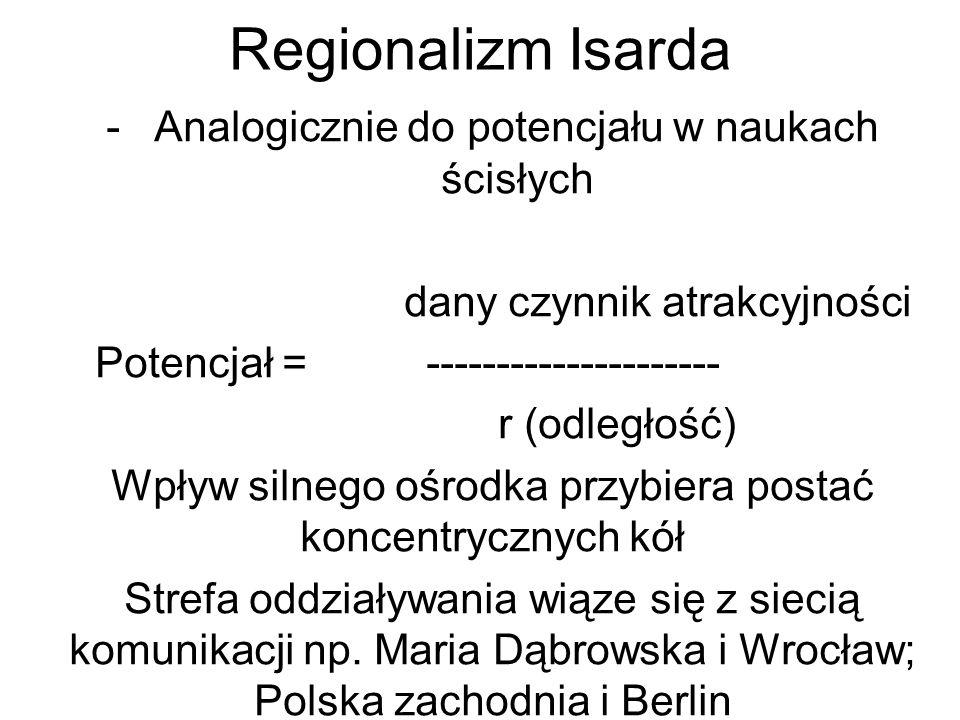 Regionalizm Isarda -Analogicznie do potencjału w naukach ścisłych dany czynnik atrakcyjności Potencjał = --------------------- r (odległość) Wpływ silnego ośrodka przybiera postać koncentrycznych kół Strefa oddziaływania wiąze się z siecią komunikacji np.