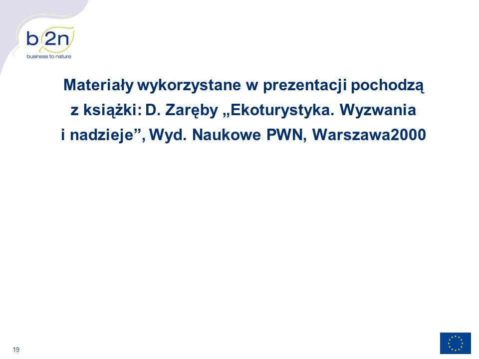 """19 Materiały wykorzystane w prezentacji pochodzą z książki: D. Zaręby """"Ekoturystyka. Wyzwania i nadzieje"""", Wyd. Naukowe PWN, Warszawa2000"""