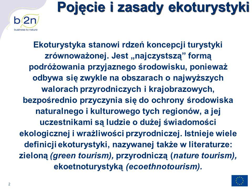2 Pojęcie i zasady ekoturystyki Ekoturystyka stanowi rdzeń koncepcji turystyki zrównoważonej.