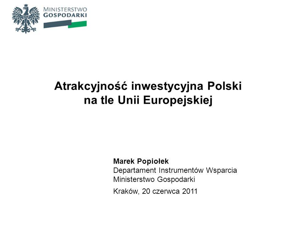 Atrakcyjność inwestycyjna Polski na tle Unii Europejskiej Marek Popiołek Departament Instrumentów Wsparcia Ministerstwo Gospodarki Kraków, 20 czerwca