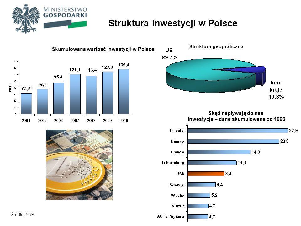 Struktura inwestycji w Polsce Struktura geograficzna Skąd napływają do nas inwestycje – dane skumulowane od 1993 Źródło; NBP Skumulowana wartość inwes