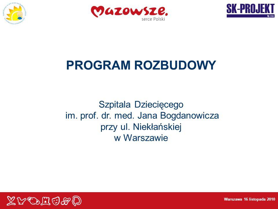 Warszawa 16 listopada 2010 PROGRAM ROZBUDOWY Szpitala Dziecięcego im. prof. dr. med. Jana Bogdanowicza przy ul. Niekłańskiej w Warszawie