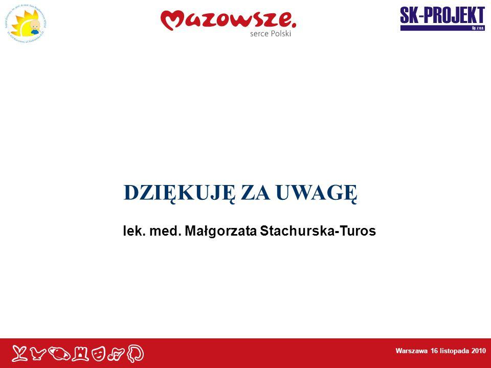 - DZIĘKUJĘ ZA UWAGĘ - lek. med. Małgorzata Stachurska-Turos
