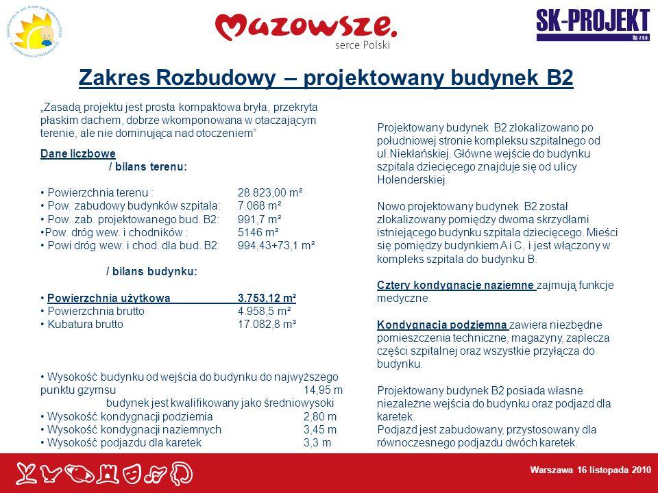 """Warszawa 16 listopada 2010 Zakres Rozbudowy – projektowany budynek B2 """"Zasadą projektu jest prosta kompaktowa bryła, przekryta płaskim dachem, dobrze"""