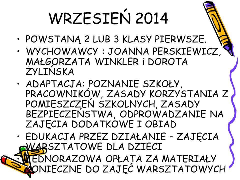 WRZESIEŃ 2014 POWSTANĄ 2 LUB 3 KLASY PIERWSZE.