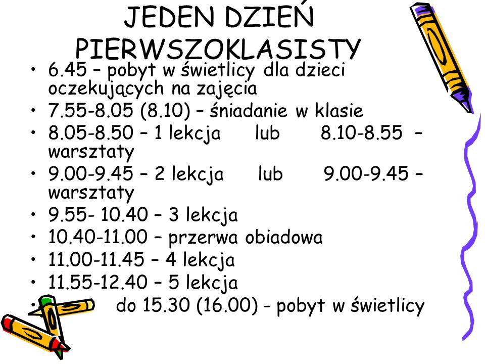 JEDEN DZIEŃ PIERWSZOKLASISTY 6.45 – pobyt w świetlicy dla dzieci oczekujących na zajęcia 7.55-8.05 (8.10) – śniadanie w klasie 8.05-8.50 – 1 lekcja lu