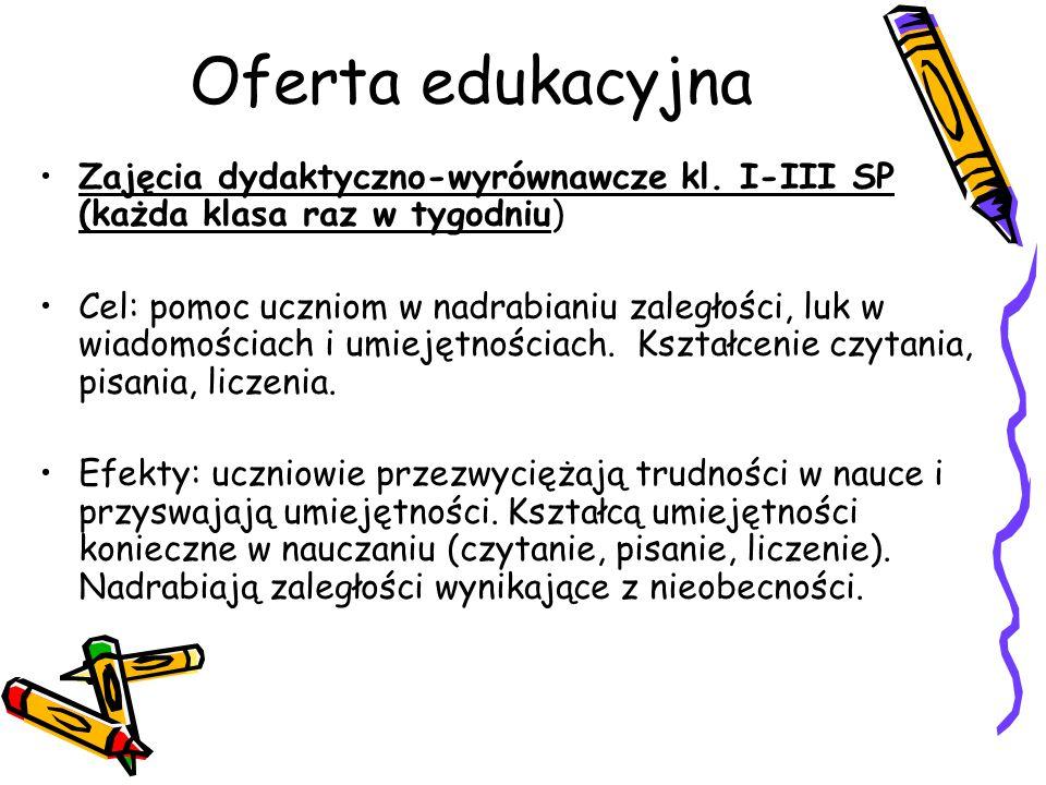 Oferta edukacyjna Zajęcia dydaktyczno-wyrównawcze kl. I-III SP (każda klasa raz w tygodniu) Cel: pomoc uczniom w nadrabianiu zaległości, luk w wiadomo