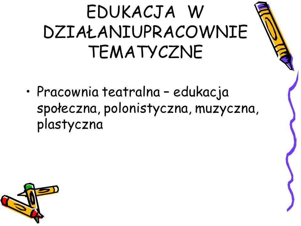 EDUKACJA W DZIAŁANIUPRACOWNIE TEMATYCZNE Pracownia teatralna – edukacja społeczna, polonistyczna, muzyczna, plastyczna