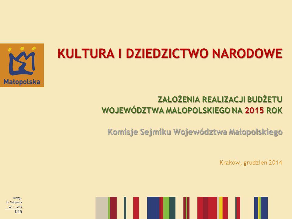 Strategy for Malopolska 2011 – 2016 1/19 KULTURA I DZIEDZICTWO NARODOWE ZAŁOŻENIA REALIZACJI BUDŻETU WOJEWÓDZTWA MAŁOPOLSKIEGO NA 2015 ROK Komisje Sej