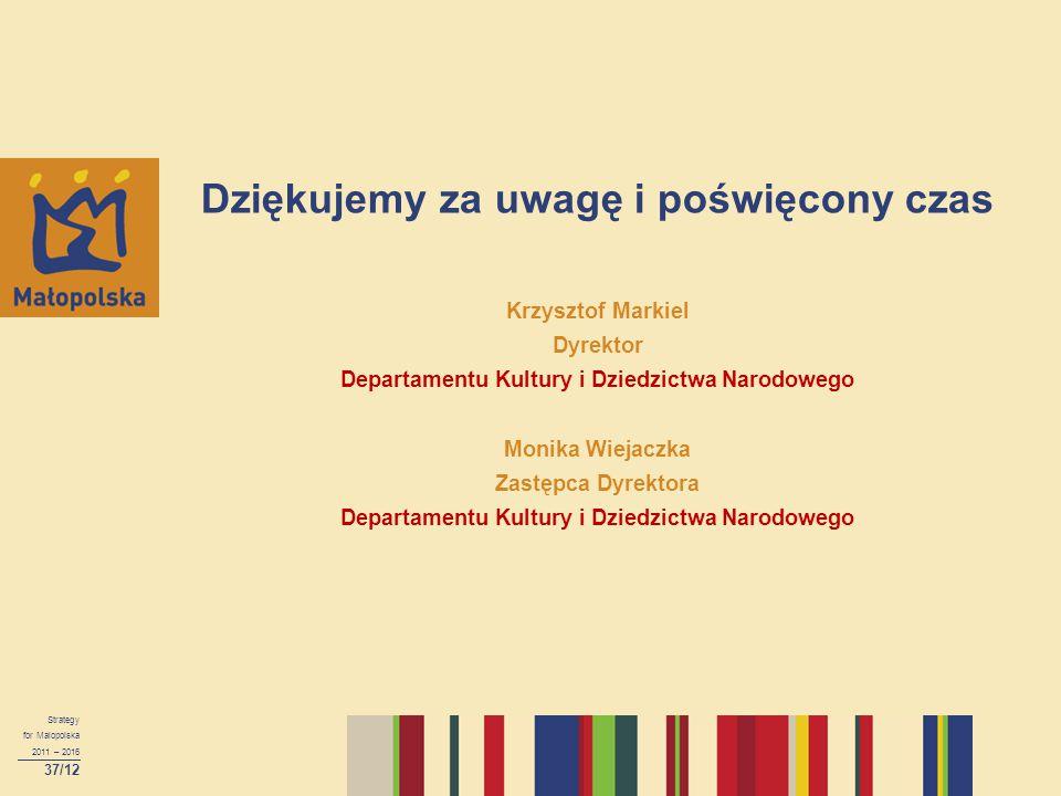 Dziękujemy za uwagę i poświęcony czas Krzysztof Markiel Dyrektor Departamentu Kultury i Dziedzictwa Narodowego Monika Wiejaczka Zastępca Dyrektora Dep
