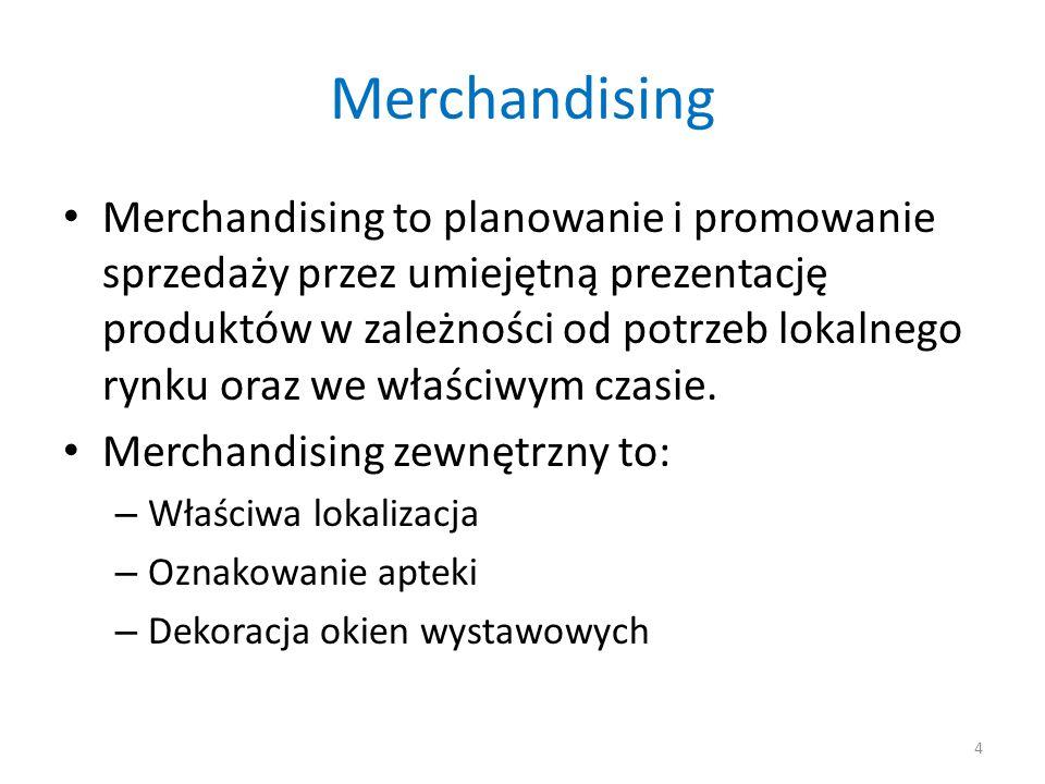 Merchandising Merchandising wewnętrzny to: – Organizacja szlaku komunikacji pacjenta w aptece – Odpowiedni układ produktów na meblach sprzedażowych i regałach – Stosowanie działań prokonsumenckich 5