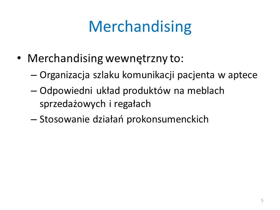 Merchandising Merchandising wewnętrzny to: – Organizacja szlaku komunikacji pacjenta w aptece – Odpowiedni układ produktów na meblach sprzedażowych i