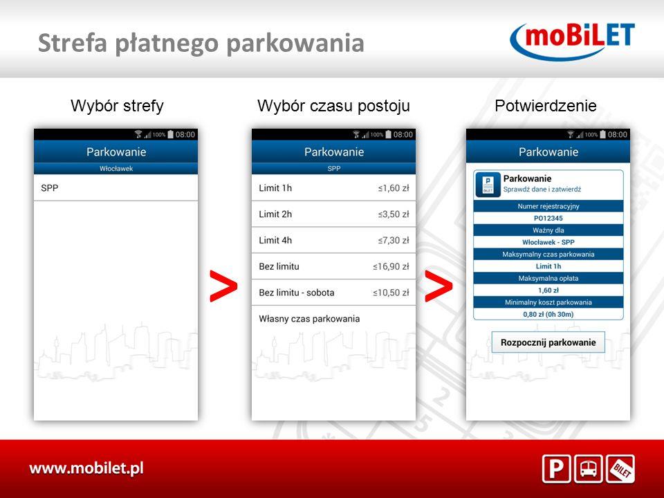 """Po dokonaniu zakupu na ekranie pojawi się """"AKTYWNY BILET System moBILET posiada funkcje """"Przedłuż parkowanie Funkcja ta umożliwia wydłużenie czasu ważności biletu parkingowego"""