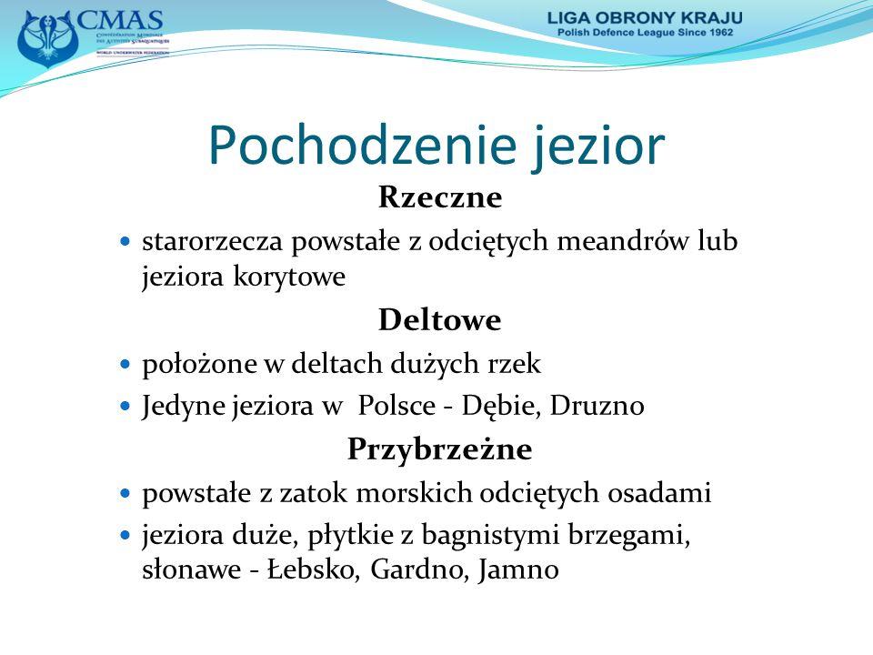 Pochodzenie jezior Polodowcowe erozyjna i akumulacyjna działalność lodowców kontynentalnych i górskich Rynnowe wąskie, długie o stromych brzegach, głębokie.