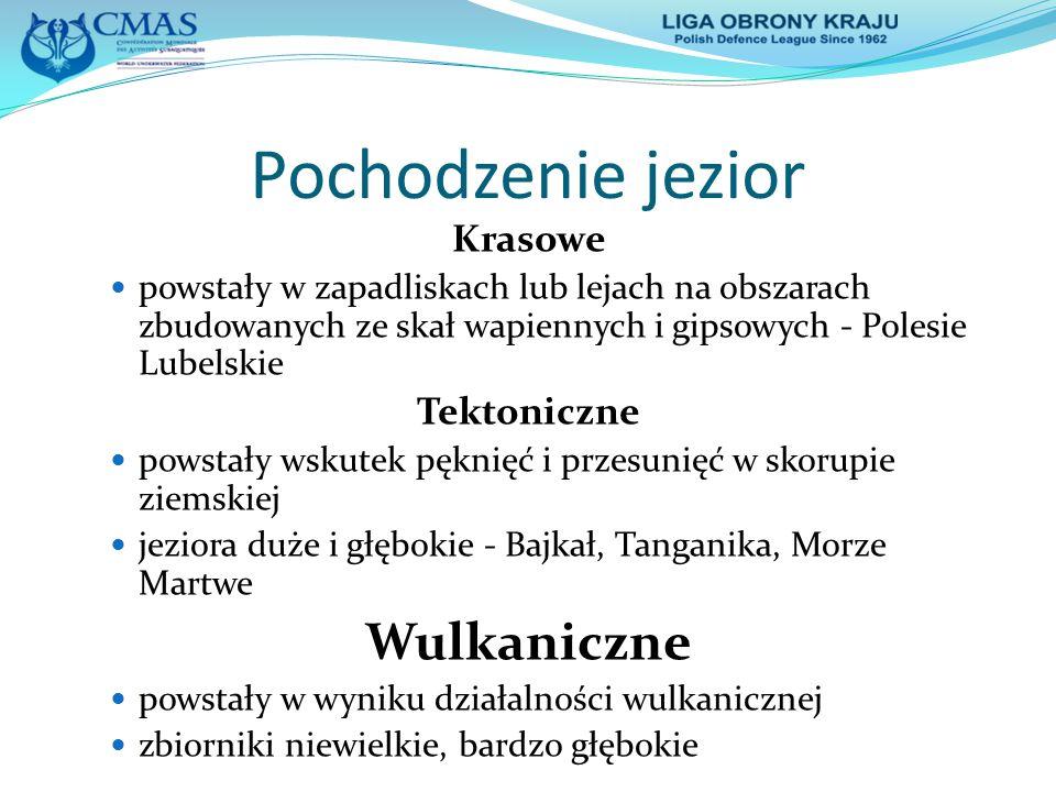 Pochodzenie jezior Rzeczne starorzecza powstałe z odciętych meandrów lub jeziora korytowe Deltowe położone w deltach dużych rzek Jedyne jeziora w Polsce - Dębie, Druzno Przybrzeżne powstałe z zatok morskich odciętych osadami jeziora duże, płytkie z bagnistymi brzegami, słonawe - Łebsko, Gardno, Jamno