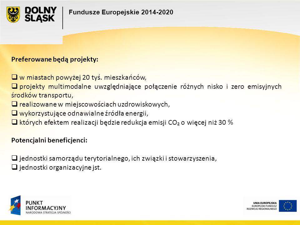 Fundusze Europejskie 2014-2020 Preferowane będą projekty:  w miastach powyżej 20 tyś. mieszkańców,  projekty multimodalne uwzględniające połączenie