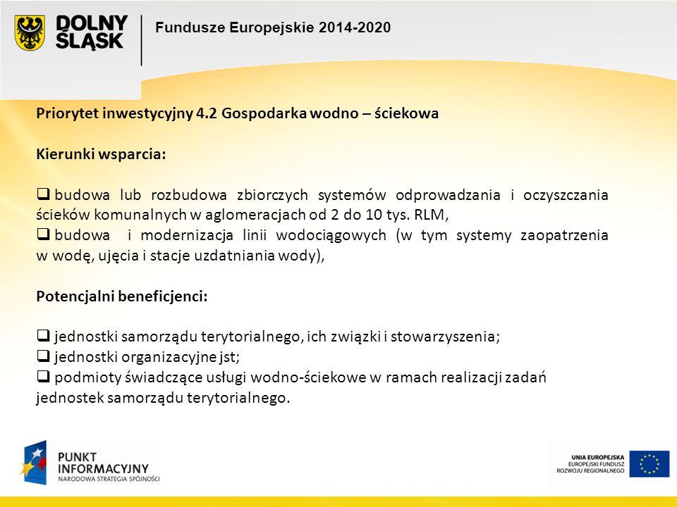 Fundusze Europejskie 2014-2020 Priorytet inwestycyjny 4.2 Gospodarka wodno – ściekowa Kierunki wsparcia:  budowa lub rozbudowa zbiorczych systemów od