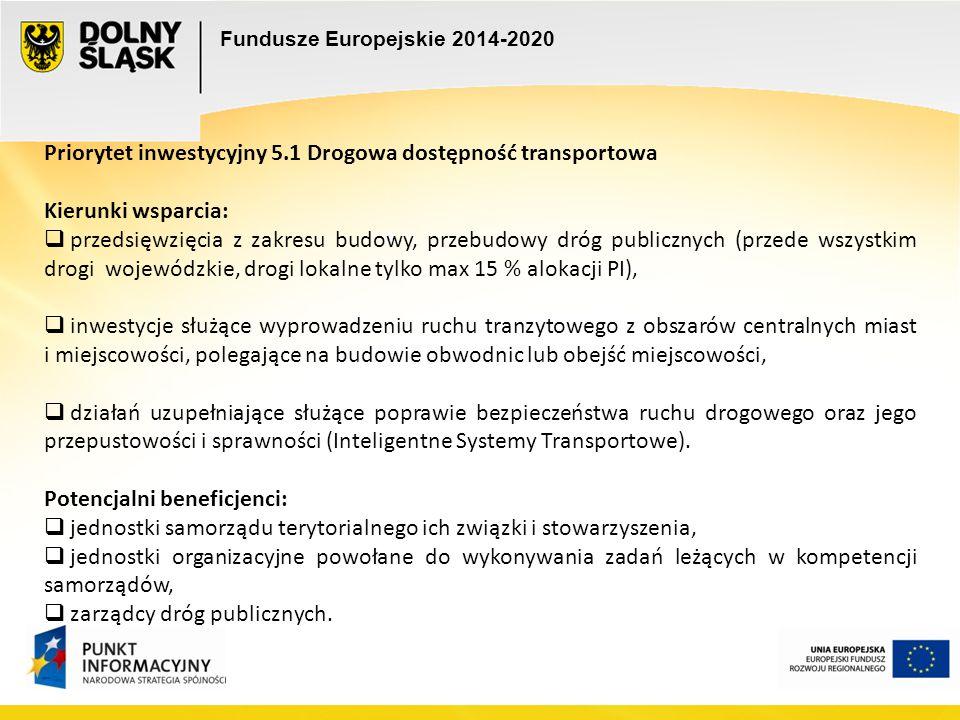 Fundusze Europejskie 2014-2020 e e Priorytet inwestycyjny 5.1 Drogowa dostępność transportowa Kierunki wsparcia:  przedsięwzięcia z zakresu budowy, p