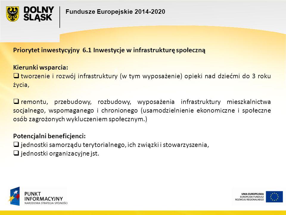 Fundusze Europejskie 2014-2020 e e Priorytet inwestycyjny 6.1 Inwestycje w infrastrukturę społeczną Kierunki wsparcia:  tworzenie i rozwój infrastruk