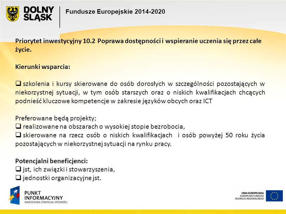 Fundusze Europejskie 2014-2020 Priorytet inwestycyjny 10.2 Poprawa dostępności i wspieranie uczenia się przez całe życie. Kierunki wsparcia:  szkolen