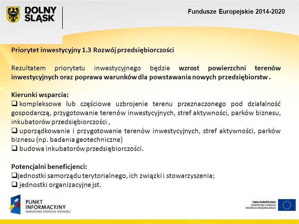 Fundusze Europejskie 2014-2020 Priorytet inwestycyjny 4.3 Dziedzictwo kulturowe Kierunki wsparcia:  ochrona, udostępnianie i promocji zasobów dziedzictwa kulturowego, (zabytki nieruchome wpisane do rejestru prowadzonego przez Wojewódzki Urząd Ochrony Zabytków we Wrocławiu i nie mogą przekroczyc 5 mln euro)  przystosowanie obiektów zabytkowych do pełnienia przez nie nowych funkcji (w szczególności do prowadzenia działalności kulturalnej i turystycznej),  podnoszenie jakości funkcjonowania instytucji kultury.