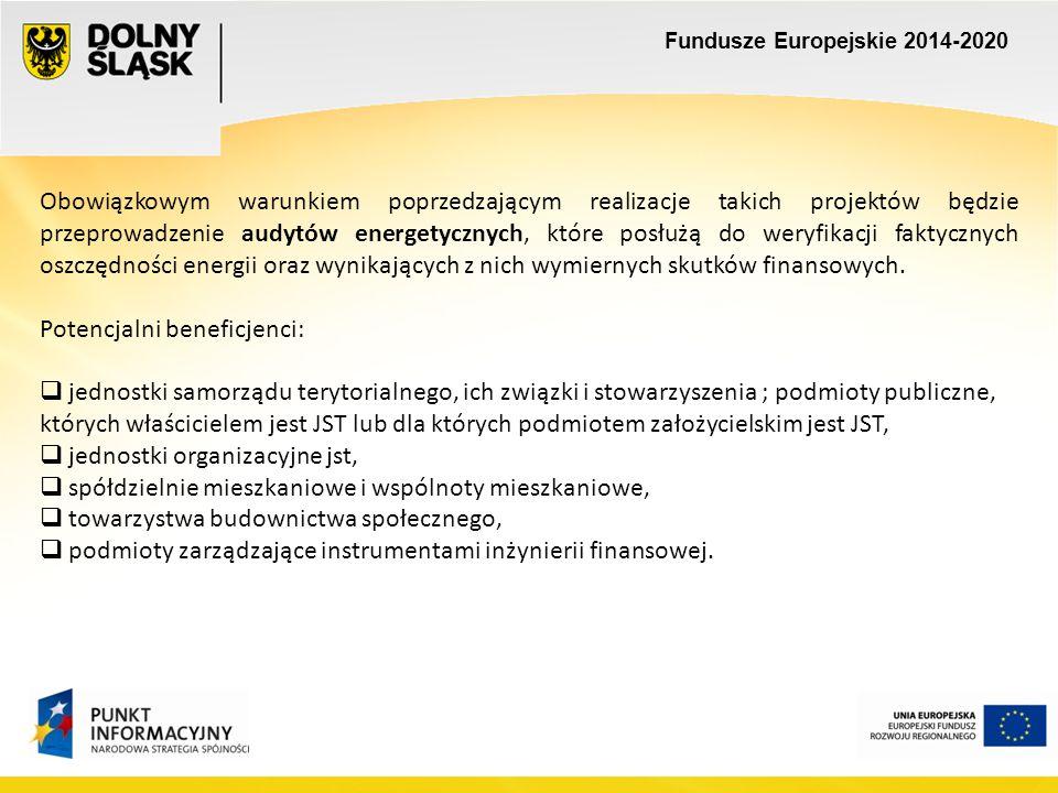 Fundusze Europejskie 2014-2020 Priorytet inwestycyjny 3.4 Wdrażanie strategii niskoemisyjnych Kierunki wsparcia:  zakup niskoemisyjnego taboru szynowego i autobusowego dla połączeń miejskich i podmiejskich,  inwestycje ograniczające indywidualny ruch zmotoryzowany w centrach miast (np.